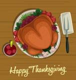 Vector il punto di vista superiore arrostito piatto del tacchino di ringraziamento del fumetto alla tavola di legno royalty illustrazione gratis