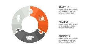 Vector il puzzle infographic, il diagramma del ciclo, il grafico, grafico del cerchio della presentazione Concetto di affari con  illustrazione di stock