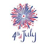 Vector il quarto dell'illustrazione di luglio Festa dell'indipendenza americana Fuoco d'artificio ed iscrizione nei colori del `  Immagine Stock Libera da Diritti