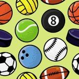 Vector il reticolo senza cuciture con le palle di sport Fotografia Stock