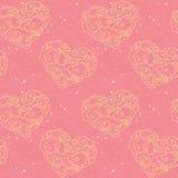 Vector il reticolo senza giunte Nuvole a forma di del cuore su fondo rosa Immagini Stock Libere da Diritti