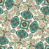 Vector il reticolo senza giunte Ornamento floreale indiano Carta da parati decorativa variopinta Illustrazione per il web, tessut illustrazione di stock