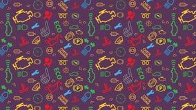 Vector il reticolo senza giunte Struttura delle icone del cruscotto dell'automobile Ripetizione dei segni di codice del dtc Color Immagini Stock Libere da Diritti