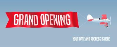 Vector il retro biplano con l'insegna ondulata di pubblicità per grande apertura Fotografia Stock