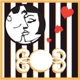 Vector il retro fondo baciante della scheda della donna e dell'uomo con il disegno e Fotografia Stock