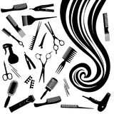 Vector il riccio degli strumenti del ` s del parrucchiere e dei capelli Fotografia Stock