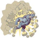 Vector il rinoceronte del fumetto della mascotte che si schianta tramite una parete Immagine Stock