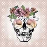 Vector il ritratto del cranio umano che indossa la corona e gli occhiali da sole floreali sui pois bianchi illustrazione di stock