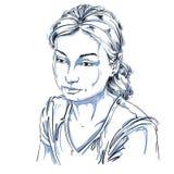 Vector il ritratto della donna attraente triste, illustrazione di buon-lo illustrazione vettoriale