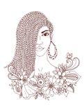 Vector il ritratto dello zentangl dell'illustrazione della donna afroamericana, il mulatto, negro Struttura floreale di scarabocc royalty illustrazione gratis