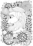 Vector il ritratto di Zen Tangle dell'illustrazione di un uomo con un ornamento Blocco per grafici floreale di Doodle Anti sforzo royalty illustrazione gratis