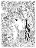 Vector il ritratto di Zen Tangle dell'illustrazione di una donna nel telaio del fiore royalty illustrazione gratis