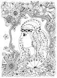 Vector il ritratto di Zen Tangle dell'illustrazione di una donna nel telaio del fiore illustrazione vettoriale