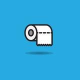 Vector il rollroll della carta igienica dell'icona della carta igienica con il bordo irregolare su fondo blu illustrazione di stock