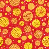 Vector il rosso astratto, fondo senza cuciture del modello dei christmass di giallo di ripetizione disegnata a mano degli ornamen illustrazione di stock