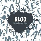 Vector il segno del blog dell'acquerello ed il modello senza cuciture con disegnato a mano Immagini Stock