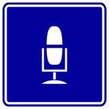 Vector il segno di radiodiffusione del mic o del microfono Immagini Stock Libere da Diritti