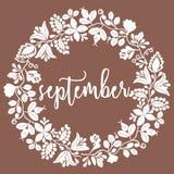 Vector il segno di settembre con la corona su fondo marrone Fotografie Stock