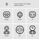 Vector il segno, il cavo e la spina dell'icona per il carico delle automobili elettriche Connettori di base per i veicoli elettri Fotografie Stock