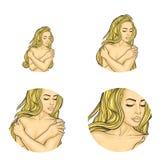 Vector il seno nudo della copertura della ragazza, avatar di Pop art illustrazione di stock