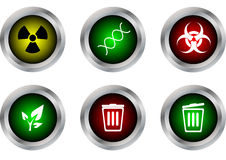 Vector il simbolo del bottone, radioattivo, il DNA, il rischio biologico, l'ecologia, clos del recipiente Fotografia Stock