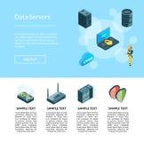 Vector il sistema elettronico dell'illustrazione della pagina delle icone del centro dati royalty illustrazione gratis