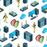 Vector il sistema elettronico delle icone modello del centro dati o dell'illustrazione del fondo illustrazione di stock