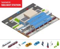 Vector il terminale infographic isometrico della costruzione della stazione ferroviaria dell'elemento Fotografie Stock Libere da Diritti