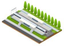 Vector il terminale infographic isometrico della costruzione della stazione ferroviaria dell'elemento Fotografia Stock
