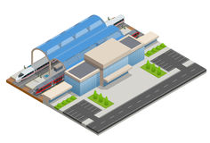 Vector il terminale infographic isometrico della costruzione della stazione ferroviaria dell'elemento Fotografia Stock Libera da Diritti
