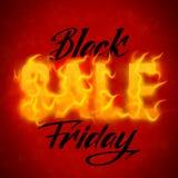 Vector il testo di vendita di Black Friday con il fondo arancio delle fiamme del fuoco Fili ondulati dalle lettere dorate Immagini Stock
