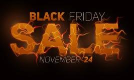 Vector il testo di vendita di Black Friday con il fondo arancio delle fiamme del fuoco Fili ondulati dalle lettere dorate Venerdì Immagini Stock