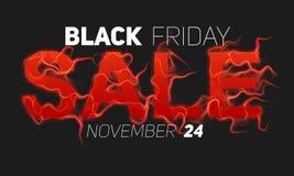 Vector il testo di vendita di Black Friday con il fondo delle fiamme del fuoco rosso Fili ondulati dalle lettere rosse Vendita ne Immagini Stock
