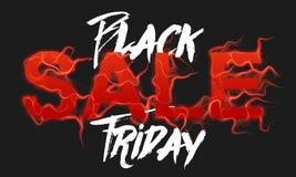 Vector il testo di vendita di Black Friday con il fondo delle fiamme del fuoco rosso Fili ondulati dalle lettere rosse Vendita ne Fotografie Stock Libere da Diritti