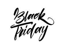 Vector il tipo scritto a mano dell'iscrizione di Black Friday nel fondo bianco Progettazione di tipografia dell'offerta speciale Immagine Stock