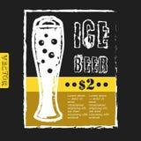 Vector il vetro della birra su un fondo nero per Fotografie Stock Libere da Diritti