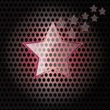 Vector il vetro della stella con il blocco per grafici rosso sulla priorità bassa del metallo Immagine Stock Libera da Diritti