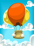 Vector il volo della mongolfiera del fumetto nel cielo nuvoloso blu royalty illustrazione gratis