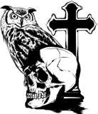 Vector illestation drawing of Owl holding skull royalty free illustration