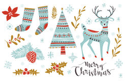 Vector illistration set with isolated Christmas elements. Stock Photo