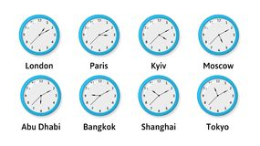 Vector illlustration of Time Zone Wall Clocks. Time Zone Wall Clocks Illustration. International time. Clocks displaying several time zones royalty free illustration