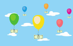 Vector illsustration of flying dollar money on air balloons in the sky. Risk investment saving. Finance freedom. Easy money profit. Increase credit Royalty Free Stock Photography