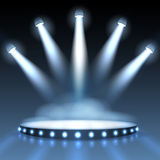 Vector illuminated podium with spotlights Royalty Free Stock Photo