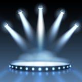 Vector illuminated podium with spotlights. Illuminated podium with spotlights. Abstract background presentation. Show with spotlight, scene or stage studio empty Royalty Free Stock Photo