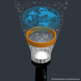 Vector The illumination of businessman. With wold map 3d and business icons Royalty Free Stock Photo