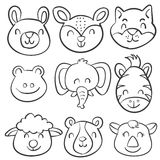 Vector illustartion animal head hand draw doodles Stock Images