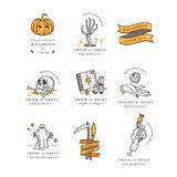 Vector illustartion set of linear icons for Happy Halloween. Badges and Labels for party and fair. Trick or treat. Vector illustartion set of linear icons for vector illustration