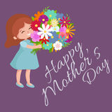 Vector illustraion baby girl with flowers cart Happy Mothers Day Stock Images