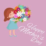 Vector illustraion baby girl with flowers cart Happy Mothers Day Stock Photo