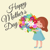 Vector illustraion baby girl with flowers cart Happy Mothers Day Stock Photos